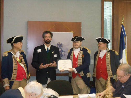President Dirk Stapleton presented Compatriot Paul Toms with a Supplemental Certificate at the 318th Meeting on Saturday, December 10, 2011, on his patriot ancestor, John Leap. Congratulations to Com­patriot Toms.