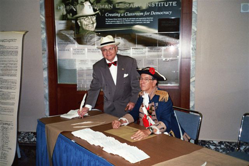 On September 17th 2006, Color Guard member Major General Robert Grover is shown here with Mr. Johnson who protrays Harry S. Truman during Constitution Week, 2006.