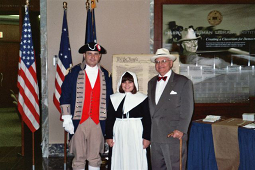 Compatriot Stapleton, who is a Harry S. Truman Chapter Color Guard member and his Daughter Victoria, a member of the Corps of Discovery Children of the American Revolution, assited with Constitution Week, 2006 at the Harry S. Truman Library on September 17th, 2006