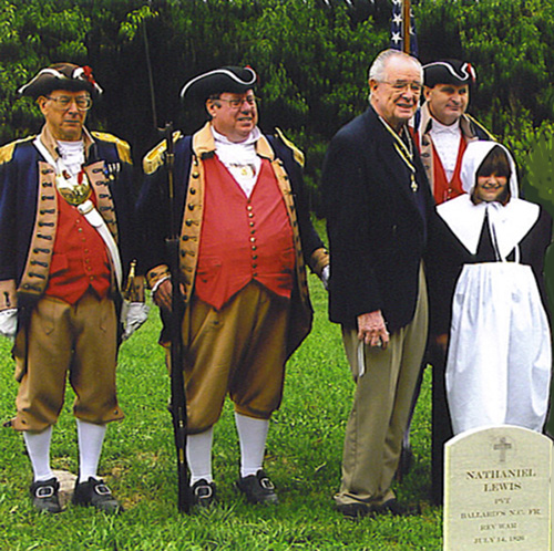 Harry S. Truman Chapter President Rommie Carr and the Harry S. Truman Chapter Color Guard are shown here at the Nathaniel Lewis SAR Dedication. Also pictured here is Victoria Stapleton, a member of the Corps of Discovery Children of the American Revolution on September 17th, 2006