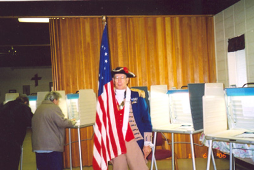 Major General Robert L. Grover, Harry S. Truman Chapter Color Guard Commander, is shown here during Election Day 2006. Major General Grover  participated in his moral, civic, and patriotic duty by voting at a local polling location in Independence, MO on Tuesday, November 7, 2006