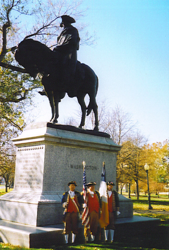 The Harry S. Truman Chapter Color Gaurd is shown here on the 81st Anniversary of the original dedication of General George Wahington at Valley Forge, PA. The statute was originally dedicated on Armistice Day 1925 and re-dedicated on Armistice Day 1932 in Washington Square Park in Kansas City, MO