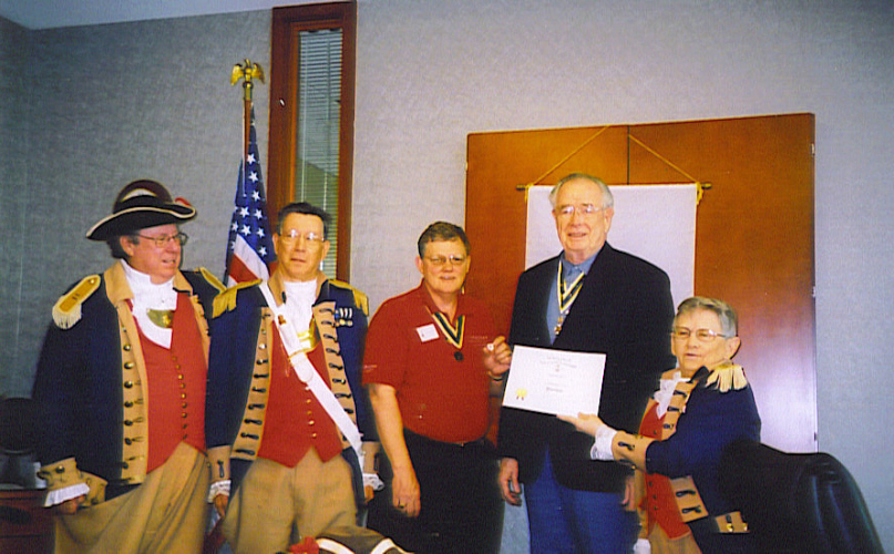 Pictured here is MOSSAR President Gerald R. McCoy, Harry S. Truman Chapter President William Hartman and members of the Harry S. Truman Chapter Color Guard on April 14, 2007. Romie Carr received the Past President Pin with Certificate for serving two terms as President of Harry S. Truman Chapter