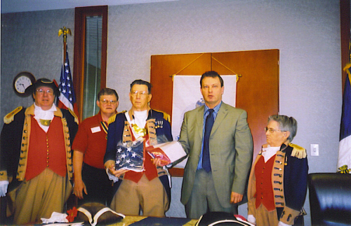 Distinguished guest Missouri Senator Victor E. Callahan (11th Senatorial District), is shown here with Missouri State President MOSSAR President Gerald R. McCoy , Hasry S. Truman President William Hartman and members of the Harry S. Truman Chapter Color Guard team.  Senator Callahan is shown here during a Proclamation presentation at the General meeting on April 14, 2007
