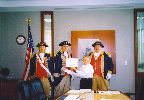 Pictured here is Harry S. Truman Chapter President William Hartman and members of the Harry S. Truman Chapter Color Guard on May 12, 2007. Compatriot Dirk A. Stapleton received his third supplemental certificate on his ancestor Private John Christophel Keller. Private John Christophel Keller is listed in the book