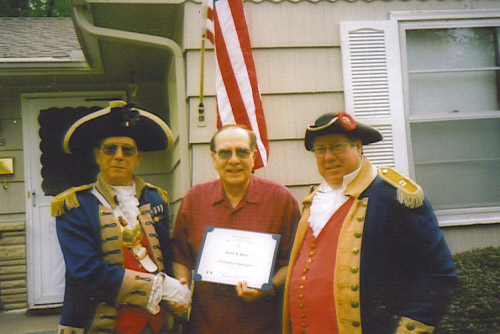 Pictured here is a Flag Certificate Award being presented by the Harry S. Truman Color Guard team at the home of Jerry Plantz of Lee Summit, MO during a Flag Certificate Award presentation on September 8, 2007