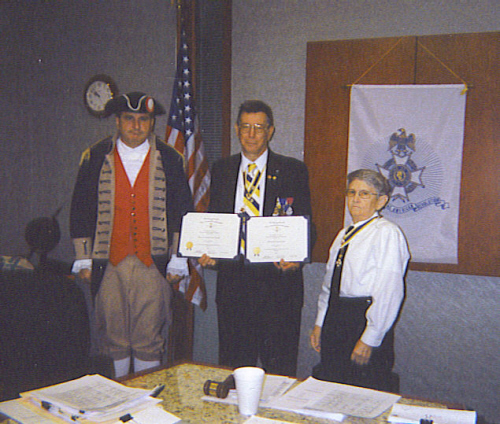 President William Hartman and the Harry S. Truman Chapter Color Guard is shown here presenting two Certificates to the MOSSAR Color Guard Commander Robert L. Grover of Independence, MO. On behalf of the MOSSAR Color Guard and Harry S. Truman Color Guard, Compatriot Grover accepted the C. Lloyd Yohe Yearbook Award of Excellence the year 2007.  Compatriot Grover accepted these certificates at the 280th Harry S., Truman meeting on September 13, 2008