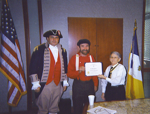 Harry S. Truman Chapter President William Hartman, the Harry S. Truman Chapter Color Guard, and Mr. Ted Stillwell of Independence, Missouri, are shown here at the October 11th, 2008 meeting. Mr. Stillwell, as guest speaker, spoke on the Life and heritage of Harry S. Truman and facts about Jackson County, Missouri