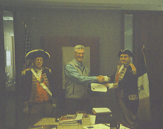 Pictured here is the Harry S. Truman Color Guard and Guest speaker, Mr. Dan Sturdevant.  Mr. Sturdevant is a Kansas City lawyer and Chairman of the Missouri-Kansas Riverbend Chapter of the Lewis & Clark Trail Heritage Foundation. Mr. Sturdevant gave us an overview of the Lewis & Clark Expedition, especially events that took place as they passed through our local area. He also invited our members to attend the April 9th meeting of the Lewis & Clark group at the downtown library.