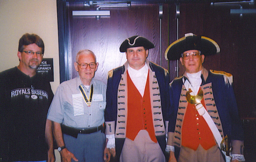 Pictured here is Compatriot Brian Smarker, Harry S. Truman Chapter Historian; David McCann, Harry S. Truman Chapter Genealogist, President Dirk A. Stapleton, Harry S. Truman Chapter; Major General Robert L. Grover, MOSSAR Color Guard Commander