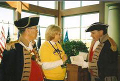 The Harry S. Truman Color Guard participated in a dedication Ceremony, hosted at the Midwest Genealogy Center, in Independence, Missouri on Veteran's Day, Wednesday, November 11, 2009.  The Color Guard Commander, Major General Robert Grover and Harry S. Truman Chapter President Dirk A. Stapleton, are shown here with Mrs. Janice Schultz, Director of the Midwest Genealogy Center during this dedication of CD's.
