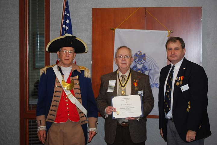 The Harry S. Truman Color Guard is shown here with MOSSAR President Dan McMurray.  As guest speaker, MOSSAR President McMurray provided a very interesting discussion on MOSSAR tpics. MOSSAR President McMurray is shown here being awarded a Certificate of Appreciation as guest speaker.