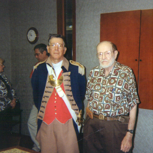 Major General Robert L. Grover, MOSSAR Color Guard Commander and George DeLapp are shown here at the 300th Harry S. Truman Chapter meeting. Both members were founding members of the Harry S. Chapter.