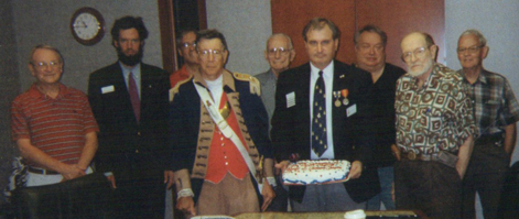 Members of the Harry S. Truman Chapter, the Harry S. Truman Chapter Color Guard, and President Dirk Stapleton, celebrated the 300th meeting of the Harry S. Truman Chapter, with cake and refreshments directly after the meeting.