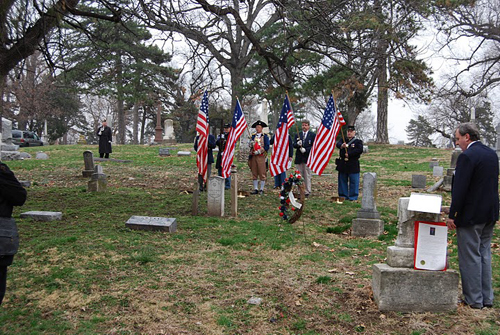 The Harry S. Truman Chapter, along with other local heredity groups including the Captain Daniel Morgan Boone Chapter,Society of the War of 1812; and Westport Camp #64, Sons of Union Veterans of the Civil War; conducted a recognition ceremony for a Civil War Medal of Honor recipient, Private Nathaniel Gwynne, buried at Kansas City's Union Cemetery.  The ceremony was conducted on National Medal of Honor Day, 25 March 2011.