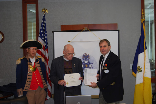 The Harry S. Truman Chapter Color Guard is shown here along with Compatriot Harry Dexheimer, and President Dirk Stapleton, during a recogingition cremony.  The ceremony recognizes Compatriot Dexheimer for his pledge to support the Sons of the American Revolution Foundation and the Center for Advancing America's Heritage Campaign (CAAH).  Compatriot Dexheimer was recognized with his $500.00 donation to help the SAR Foundation raise the money needed to complete Phase II of The Center for Advancing America's Heritage. Compatriot Dexheimer received the James Madison Commemorative lapel pin, medallion/stand and CAAH Award for his donation).