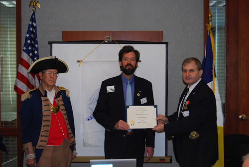 President Dirk Stapleton presented Compatriot Paul Toms with a Supplemental Certificate at the 320th Meeting on Saturday, February 11, 2012, on his patriot ancestor, Patriot George E. Dodson. Congratulations to Compatriot Toms!