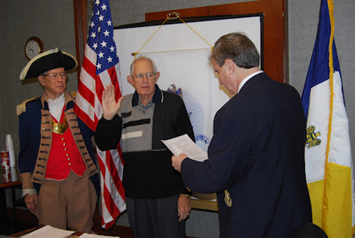 President Dirk Stapleton installed Compatriot Courtney Sloan as the Chapter Treasurer at the February 11, 2012 meeting. The Harry S. Truman Chapter Color Guard is shown here during the installation.