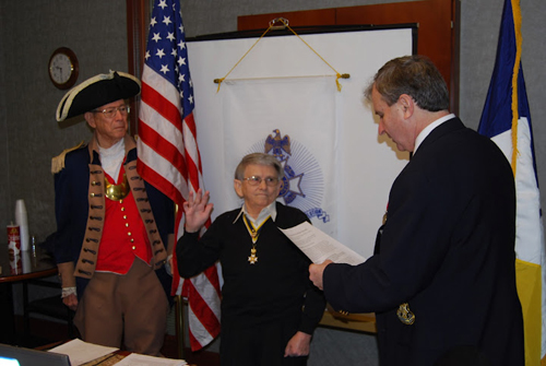 President Dirk Stapleton installed Compatriot William Hartman as Honorary Vice-President at the February 11, 2012 meeting. The Harry S. Truman Chapter Color Guard is shown here during the installation.