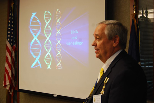 Pictured here is guest speaker, Compatriot Roy Hutchinson, at the 328th Harry S. Truman Chapter Meeting on Saturday, October 13, 2012.  Compatriot Hutchinson spoke on the topic of DNA and Genealogy.  A genealogical DNA test looks at a person's genetic code at specific locations. Results give information about genealogy or personal ancestry. Generally, these tests compare the results of an individual to others from the same lineage or to current and historic ethnic groups.