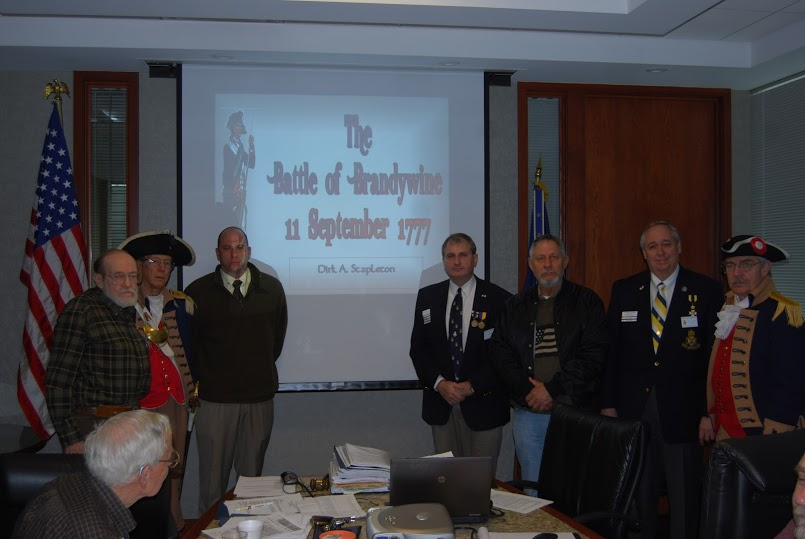Pictured here is guest speaker, Compatriot Dirk A. Stapleton, at the 331st Harry S. Truman Chapter Meeting on Saturday, January 12, 2013. Compatriot Stapleton spoke on the Battle of Brandywine, which was fought between the American army of Major General George Washington and the British army of General Sir William Howe on September 11, 1777. The British defeated the Americans and forced them to withdraw toward the rebel capital of Philadelphia. The engagement occurred near Chadds Ford, Pennsylvania.