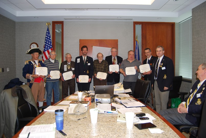Harry S. Truman Chapter Officers are shown here receiving individual Certificates of Appreciation from President Dirk Stapleton at the January 12, 2013 meeting.  Vice-President Donald Lewis, Jr.;  Treasurer Courtney Sloan; Registrar-Genealogist David McCann; Chancellor George DeLapp;  Chaplain Romie Carr, Historian Brian Smarker; Sergeant-at Arms Paul Toms; and Color Guard Commander Robert L. Grover each received a Certificate of Appreciation for their dedication and service in fulfilling their duties.