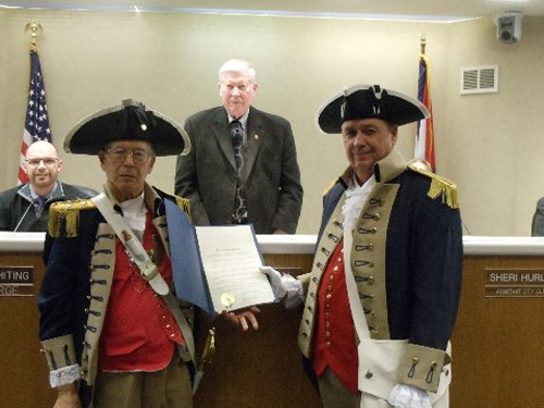 Pictured here is Harry S. Truman Chapter Member Robert L. Grover and Compatriot Roy Hutchinson along with Independence Mayor Don Reimal after signing the George Washington Proclamation for MOSSAR Harry S. Truman Chapter.
