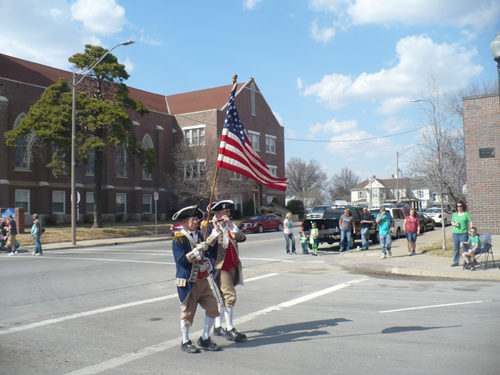 Pictured here is Harry S. Truman Chapter Member Robert L. Grover and Compatriot Roy Hutchinson marching in the 10th Annual Independence St. Patrick's Day Parade on Saturday, March 15, 2014.
