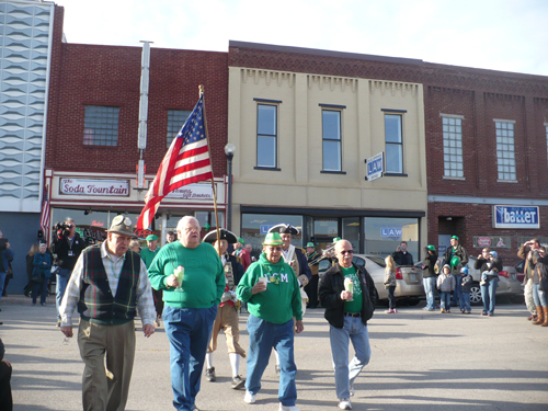 Pictured here is Harry S. Truman Chapter Member Robert L. Grover and Compatriot Roy Hutchinson marching in the World's Shortest Saint Patrick's Day Parade on Monday, March 17, 2014.