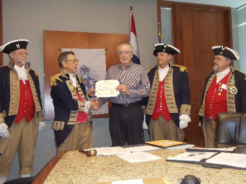 Compatriot Romie Carr was presented with a certificate and medal for the SAR Viet Nam War Veterans Corps by Vice President Robert Grover. Congratulations Compatriot Romie Carr.