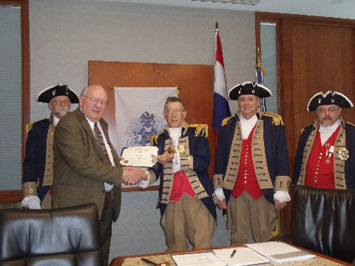 Vice President Robert Grover and the Harry S. Truman Color Guard, are shown here presenting Mr. James A. Everett. who was our guest speaker at the April 12, 2014 meeting, with a Certificate of Appreciation and a Harry S. Truman Chapter Coin. Mr. Everett's topic was on the The Making and Breaking of an American Spy.
