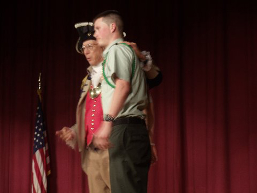 The Harry S. Truman Chapter Color Guard is shown here presenting a Junior Reserve Officer Training Corps Award to Army JROTC Cadet Chase Anderson, on Tuesday, April 29, 2014. Color Guard Commander Robert Grover, presented Army  JROTC Cadet Chase Anderson with the J.R.O.T.C. Award.