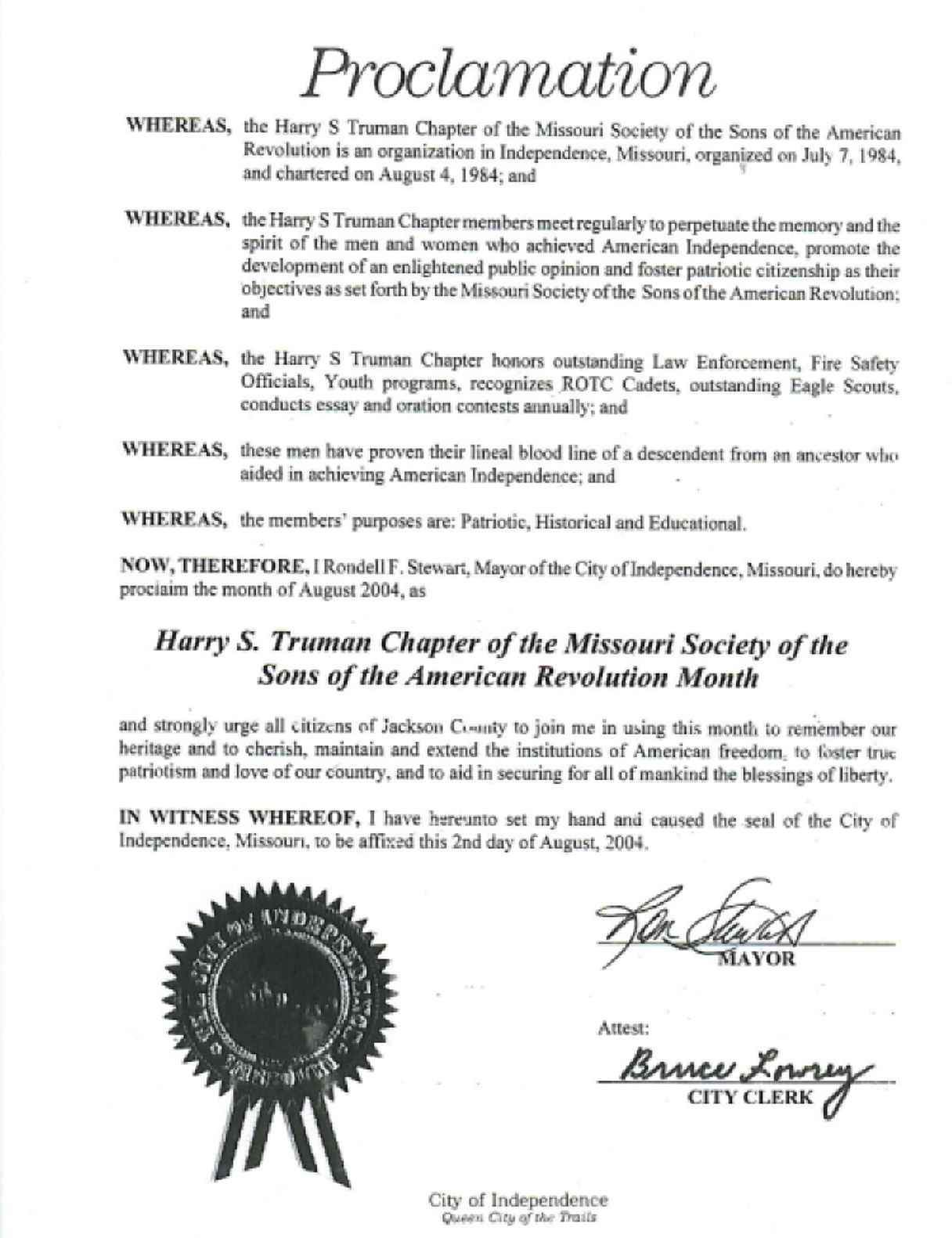 20 Year Proclamation for MOSSAR Harry S. Truman Chapter