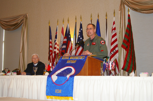 Pictured here is Rev. David Laird Barclay and Guest Speaker Colonel Greg Champagne, Vice Commander, 131st Fighter Wing, Missouri Air National Guard, St Louis. Colonel Champagne presented a program on the Air Force's premier weapon system, the B-2 bomber.