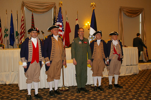 Pictured here is the guest speaker during the 22nd Annual George Washington Birthday Celebration, Colonel Greg Champagne, Vice Commander, 131st Fighter Wing, Missouri Air National Guard, St Louis. Colonel Champagne is shown here with the MOSSAR and KSSSAR Color Guard Team after the 22nd Annual George Washington Birthday Celebration.