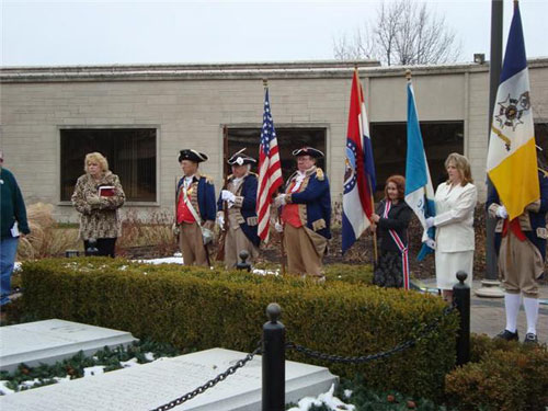 The Independence Pioneers DAR Chapter and MOSSAR Color Guard pay tribute to Bess Truman on her Birthday