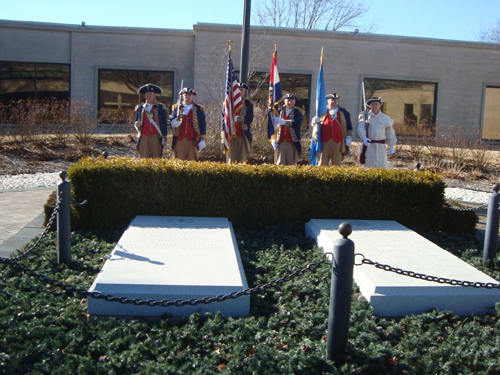 The Independence Pioneers DAR Chapter conducted the 25th Annual Observance of Elizabeth ''Bess'' Wallace Truman's birthday at the Harry S. Truman Library in Independence, MO on Wednesday, February 13th, 2013. The MOSSAR Color Guard team is shown here at the gravesite of President Harry S. Truman and Elizabeth ''Bess'' Wallace Truman, after participating during the wreath-laying ceremony event, which was presented at Mrs. Truman's grave.