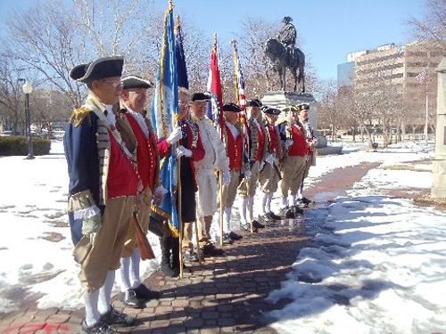 Several local D.A.R. and S.A.R. Chapters celebrated Presidents Day 2014 with a Wreath Laying Ceremony, at the Memorial of General George Washington, at Washington Square Park, in Kansas City, MO. The MOSSAR Color Guard is shown here during the ceremony. Missouri DAR members presented the Wreath.