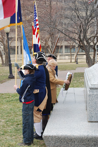 Several local D.A.R. and S.A.R. Chapters, along with the Corps of Discovery Society Children of the American Revolution, celebrated Presidents Day 2012 with a Wreath Laying Ceremony, at the Memorial of General George Washington, at Washington Square Park, in Kansas City, MO. The MOSSAR and KSSSAR Color Guard is shown here during the ceremony. Missouri DAR State Regent Donna Green Nash, presented the Wreath in the center photo.