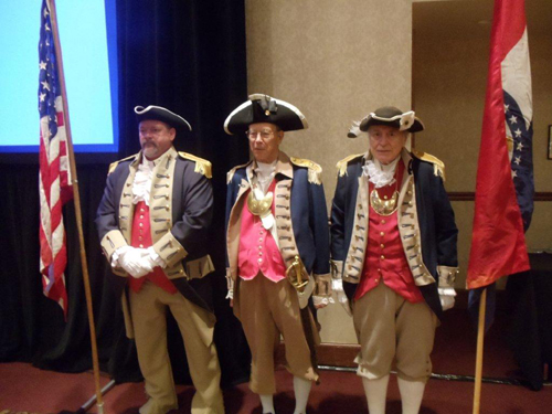 The MOSSAR Color Guard is shown here during the presentation of the colors at the Ancestry Day, which was sponsored Ancestry.com.  The event was located at the Adams Pointe Conference Center in Blue Springs, Missouri on Saturday, March 16, 2013.