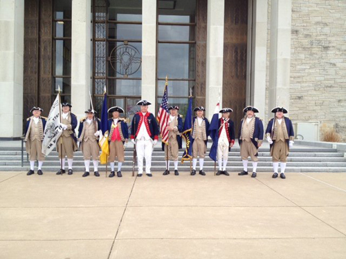 Pictured here in front of the steps of the Dwight D. Eisenhower Presidential Library, is the MOSSAR Guard Commander along with KSSSAR members at the KSSSAR Board of Directors Meeting in Abilene, Kansas on Saturday, March 17, 2012.