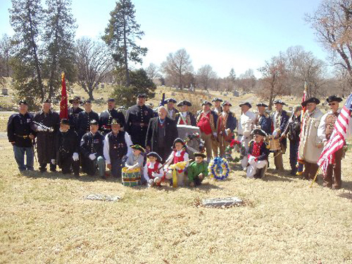 The MOSSAR Color Guard, along with other local heredity groups including the Captain Daniel Morgan Boone Chapter, Society of the War of 1812; Westport Camp #64, Sons of Union Veterans of the Civil War; Corps of Discovery Children of the American Revolution, conducted a recognition ceremony for a Civil War Medal of Honor recipient, Private John H. Recksecker, buried at Forest Hills Cemetery in Kansas City, Missouri.
