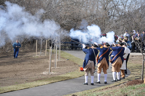 Shown here is the MOSSAR Color Guard Team, in which the Musket Team participated in the Veterans Way Memorial Dedication Ceremony, located at Pink Hill Park in Blue Springs, MO on Tuesday, April 2, 2013.