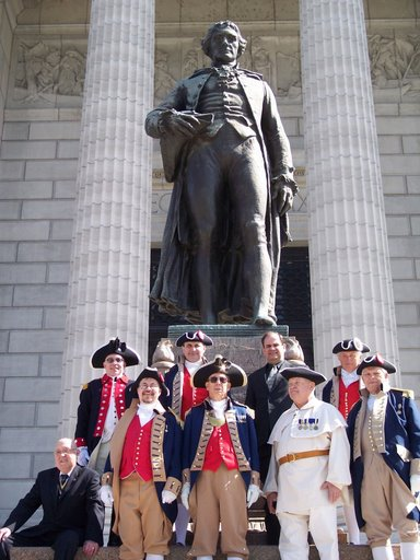 Major General Robert L. Grover, MOSSAR Color Gaurd Commander leads the MOSSAR Color Guard along with Robert E. Comer, President of MOSSAR on the steps of the Missouri State Capital. This picture was taken after the proclamation ceremony held Wednesday, April 9, 2008, at Governor Blunt's office in Jefferson City, Missouri.