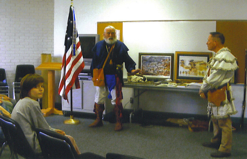Compatriots Frances R. Roberson and J. Frank Shouse, with the MOSSAR Color Guard, recently provided an American Revolution Presentation at the Monett Branch Library on April 26, 2008.