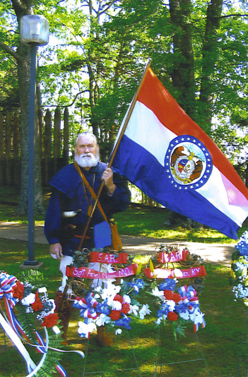 The MOSAR Color Guard participated in the 225th Anniversary Commemoration of the Revolutionary War engagement at the Arkansas Post in Gillett, Arkansas on Saturday, April 19, 2008.  Pictured here is Compatriot Frances R. Roberson of the Sgt. Ariel Nims Chapter in Joplin, MO.