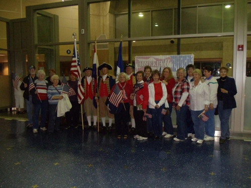 Pictured here is the MOSSAR Color Guard team, shown here at the Honor Flight Greeting for WWII Veterans at Kansas City International on Wednesday evening, April 20, 2011.