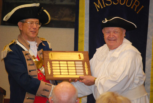 In the right photo, pictured here is Major General Robert L. Grover, MOSSAR Color Guard Commander, presenting Compatriot Bill Groth, with MOSSAR Color Guard Participant of the Year for 2009, at the 120th Annual Missouri State Convention in Columbia, Missouri on April 23-24, 2010