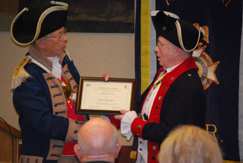 In the left photo, pictured here is Major General Robert L. Grover, MOSSAR Color Guard Commander, promoting Captain Russell F. DeVenney, Jr. to the rank of Brigadier General at the 120th Annual Missouri State Convention in Columbia, Missouri on April 23-24, 2010.