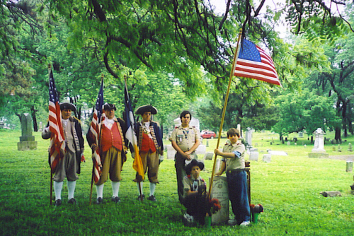The MOSSAR & KSSSAR Color Guard Teams participated along with a local Boy Scout unit in a ceremony to honor Nathaniel Gwynne, one of the youngest ever to be awarded the Medal of Honor, being only 15 years and 25 days old on the day he rode across the battlefield at Petersburg, VA, to rescue the Colors from Confederate captors.